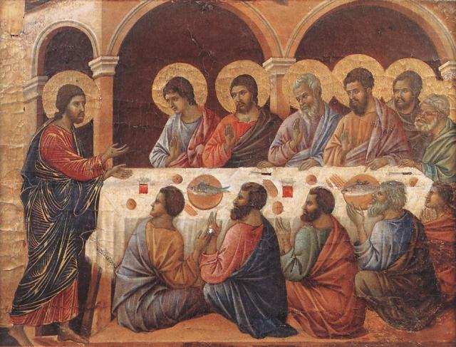 Duccio di Buoninsegna, Appearence While the Apostles are at Table, 1308-11, from WebGalleryofArt