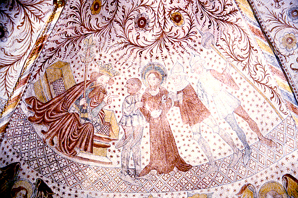 Christ before Herod - Kongsted church fresco c. 1430- from Mills-Kronborg Collection (M-K 15-082)