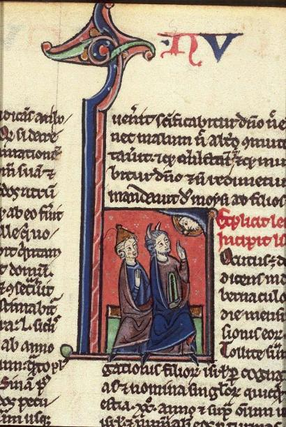 God speaks to Moses and Aaron, Moses speaks to Aaron and Joshua - Historiated initials - Bible, Paris, cca. 1250-1300 - from Koninkljike Bibliotheek, Medieval Manuscripts