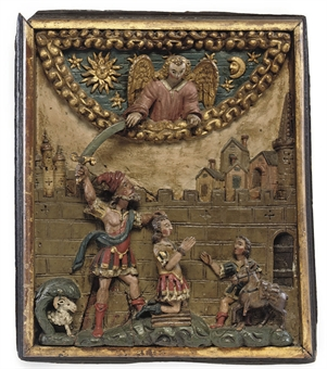 17th century polychrome carved wood relief, possibly from Tyrol - from Christies