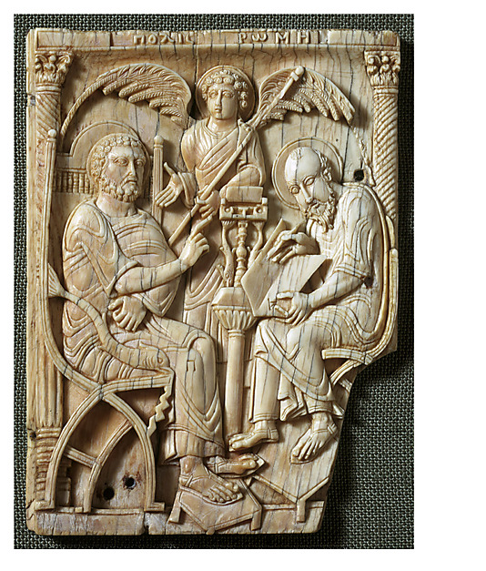 St. Peter dictating the Gospel to St. Mark, ivory, 5-7th century, from The Metropolitan Museum of Art