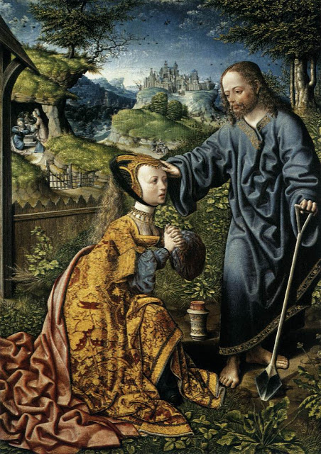 Christ Appearing to Mary Magdalen as a Gardener, 1507, Jacob Cornelisz van Oostsanen, from Web Gallery of Art