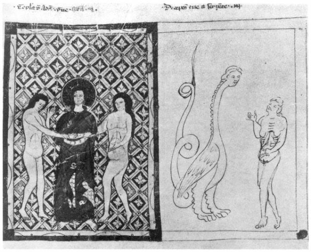 c. The Marriage of Adam and Eve. d. The Temptation. Speculum humanæ salvationis , Chapter I. Bayerische Staatsbibliothek, Munich, Clm 146, fol. 4 recto.