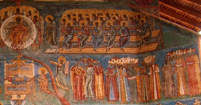 Moses and the people of the wrong faith - Last Judgment, Voronet Monastery, Romania