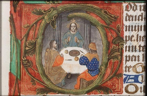 Supper at Emmaus, Book of Hours, fol. 94r, c. 1490, The Masters of the Dark Eyes, from Medieval Illuminated Manuscripts