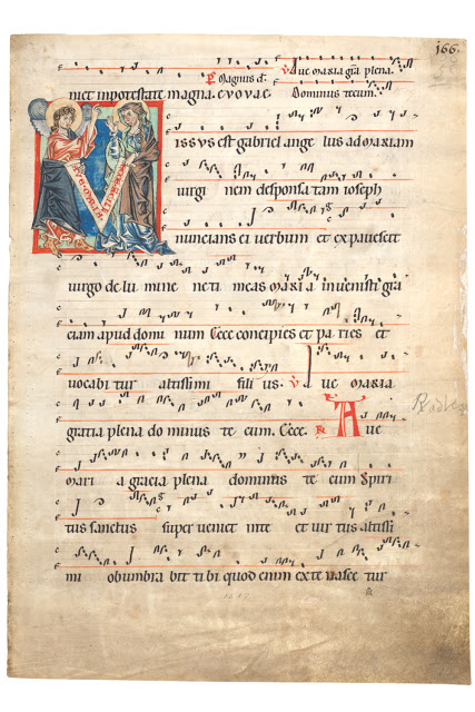 'Missus est Gabriel', leaf from a choirbook, Germany or northern Netherlands, about 1250.  Museum no. 1519 Victoria and Albert Museum