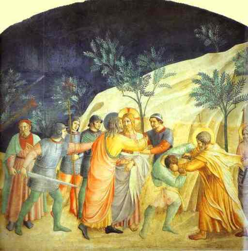 The Kiss of Judas, fresco, 1437-1446 - Fra Angelico - in San Marco, Florence - from Wikipedia