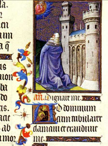 avid praying in Tres Riches Heures du Duc de Berry, fol 48v, Limbourg brothers, c. 1410, from christusrex