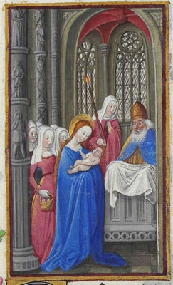 Presentation in the Temple, Les Très Riches Heures du duc de Berry, Folio 63r  -   the Musée Condé, Chantilly, from Wikipedia.