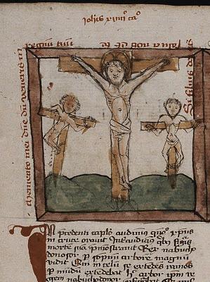 Jesus crucified with the two malefactors, Speculum Humanae Salvationis,fol. 27v, c. 1400-1500, from Koninklijke Bibliotheek