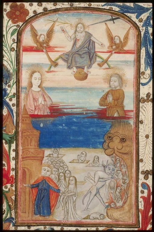 Masters of the Dark Eyes, Last Judgment, Book of Hours, fol 52v., c. 1490, from Koninklijke Bibliotheek