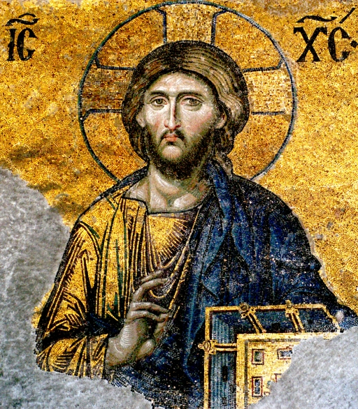 Jesus Christ – detail from Deesis mosaic, Hagia Sophia, Istanbul, from Wikimedia Commons