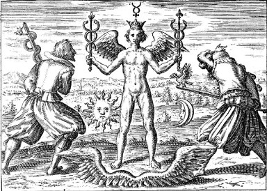Hermes carrying a caduceus in each hand - from The Ambrosia Society