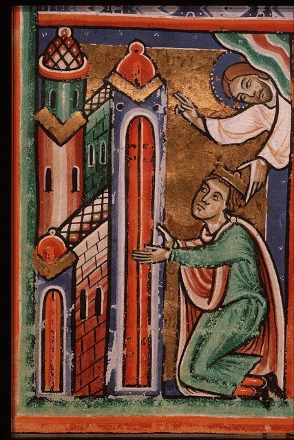 Solomon kneels in prayer at the dedication of the temple, Picture Bible, fol. 43r, c.1290-1300, from Koninklijke Bibliotheek
