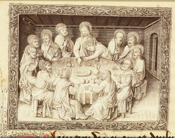 Last Supper, Book of Hours, fol. 23r., c. 1450-1460 -  from Koninklijke Bibliotheek