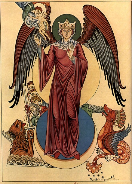 Woman of the Apocalypse, Hortus Deliciarum, 12th century Encyclopedia, from Wikipedia