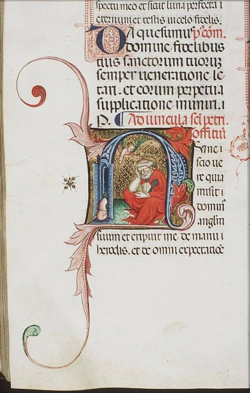 An angel appears to St. Peter in prison, summoning him to wake up, Missal (Dominican use), c. 1390-1400, fol. 204v, from Koninklijke Bibiliotheek