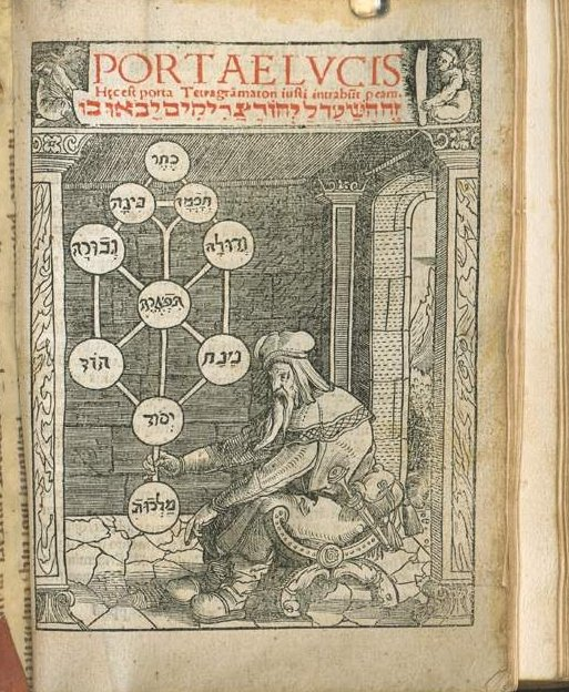 The Kabbalist and the ten Sephirot, Portae Lvcis H[a]ec est porta Tetragra[m]maton iusti intrabu[n]t p[er] eam Augustae Vindelicoru[m] 1516 [VD16 J 954] – Giqatila, Yôsef Ben-Avraham, from Bayerische Staatsbibliothek München