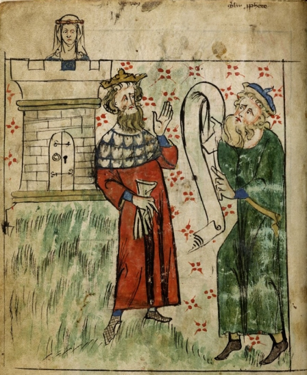 King Uther Pendragon conversing with Merlin while Igraine is watching, Chronicle of England, England, c. 1307-c. 1327, Peter Langtoft, from British Library