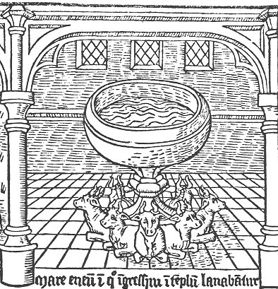 The brass vessel in which the entrants to the temple are washed - A Medieval Mirror, Specullum Humanae Salvationis 1324 - 1500, by Adrian Wilson and Joyce Lancaster Wilson onUC Press E-Books Collection, 1982-2004