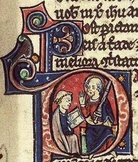 St. Paul dictates a letter, Historiated initial, Bible, fol. 378r.c. 1250-1300, from Koninklijke Bibliotheek, Medieval Illuminated Manuscripts