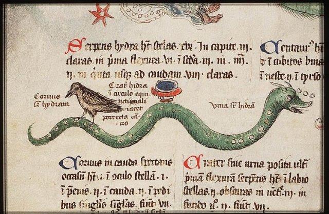 Constellation Hydra, Liber Floridus, fol 74 v., from Koninlijke Bibliotheek