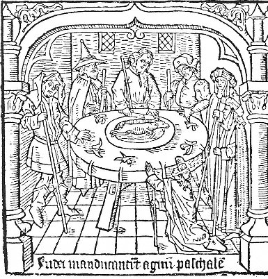 The Jews ate the Pascal lamb, in A Medieval Mirror, Specullum Humanae Salvationis 1324 - 1500, by Adrian Wilson and Joyce Lancaster Wilson onUC Press E-Books Collection, 1982-2004