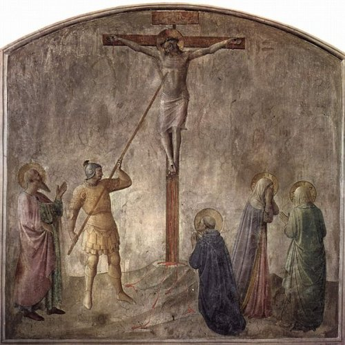 Longinus piercing the side of Christ – a fresco by Fra Angelico – Wikipedia – St. Longinus