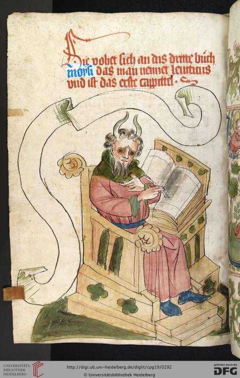 Moses writing the Leviticus, Bible, 1441-1449, from Universitats Bibliotheek Heidelberg